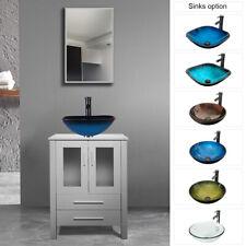"24"" Bathroom Vanity Modern W/Tempered Glass Vessel Sink Cabinet Set Top Mdf"