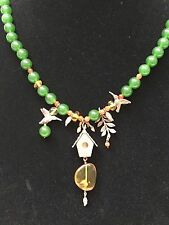 Jade Necklace with Orange and Yellow Citrine with silver decor