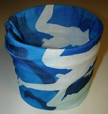 Sky Ocean Blue  Camo Tubular Multi Function Headwear Balaclava Beanie Cap Scarf
