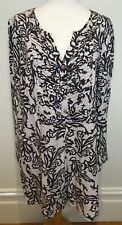 BLUE ILLUSION Brown Cream Abstract Swirl V-Neck Long Length Tunic Blouse Top 3XL