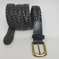 """Vintage Mens Black Leather Braided Belt Woven Brass Buckle Size 38 1""""Wide"""