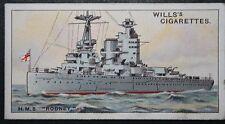 HMS RODNEY   Royal Navy Battleship     Vintage Colour Card # VGC