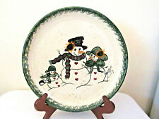 SIGNED G MILLER Spongeware Pottery Christmas Snowman Family Cake Cookie Plate