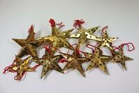 9x goldener Deko Stern Weihnachten Christbaumschmuck Metall (RK431)