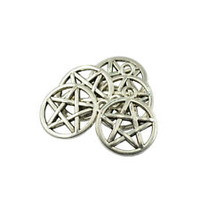 50pcs Alloy Necklace Pendant Round Star Pentacle DIY Charms Connectors