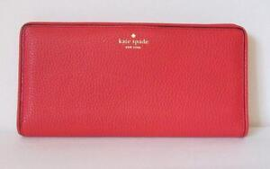 Kate Spade Large Stacy Cherry liquor red orange wallet logo snap leather travel