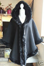 WOMENS BLACK FAUX FUR HOODED WINTER CAPE COAT PONCHO ONE SIZE NEW