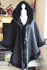 Para Mujer negro de piel sintética con Capucha Invierno Cape Abrigo Poncho un tamaño Nuevo