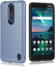 For Nokia 3.1 Plus (Cricket) - Hard Hybrid Armor Impact Case Cover Blue Brushed