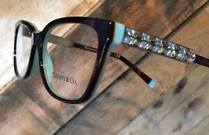 Tiffany & Co TF2199B Havana Blue Swarovski Glasses 52mm