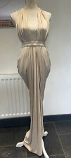 House of CB London Salima Long Maxi dress Medium Champagne draped Deep-V Rrp 115
