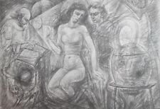 1978 Nude woman portrait surrealist print signed