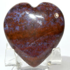 48mm Red Purple Moss Agate Heart Natural Gemstone Crystal Mineral India + Stand