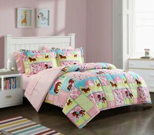 Pink Pony & Horses Country Girls Full Comforter & Sheet Set, 7 Piece Bedding Set
