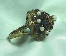 14K Gold Ring w Sapphire / Pearl 5.9 grams size 6 1/2