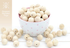 100 pcs. Wooden Beads 20mm. Natural Untreated Organic beech wood, made in Europe