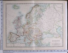 1915 LARGE MAP EUROPE BRITISH ISLES SPAIN FRANCE AUSTRIA HUNGARY SWEDEN NORWAY