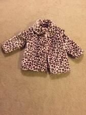 Gymboree GLAMOUR KITTY Leopard Coat Faux Fur Pink Brown Jacket Sz 5-6 Girl's