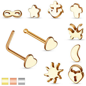 Nose Piercing Surgical Steel Bent Nose Studs Plug Stud Piercing Jewelry