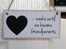Baby Countdown To Becoming Grandparents Chalkboard Plaque - New Baby Sign Gift