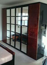 Hülsta Schlafzimmer hochglanz Schwarz mit Myrtenholz und Spiegeleinlagen