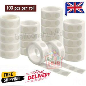100 Adhesive Dots Tape Double Sided Glue Sticky Sticker DIY Clear Balloon Decor