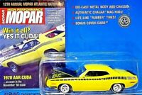 Johnny Lightning High Performance Mopar 1970 AAR Cuda Yellow 1/64 Scale Diecast