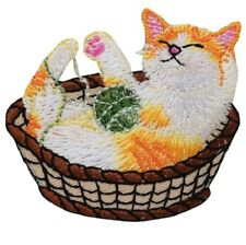 "Kitty Cat Applique Patch - Kitten, Basket, Yarn 2-1/4"" (Iron on)"