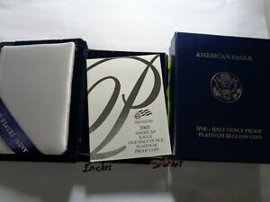 2005 AMERICAN EAGLE PLATINUM PROOF 1/2 OZ BOX ONLY WITH PAPERS