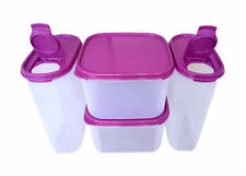 Tupperware Modular Mates Oval IV FlipTop & Square II Set of 4 with Purple Lids
