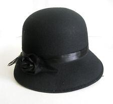 Black Ladies Cloche Hat 20s 30s Retro Style Adult Halloween Costume Accessory