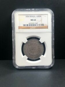 1854 Brazil 1000 Reis, NGC MS 62, Finest @ NGC, 067