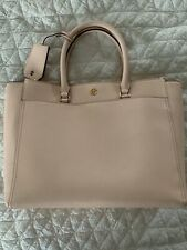 Tory Burch Robinson Tote Pale Apricot Leather Royal Navy Interior