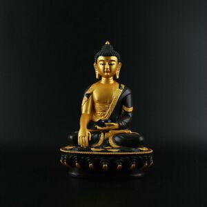 China Tibetan Buddhism Resin Golden Paint Black Shakyamuni Menla Medicine Buddha