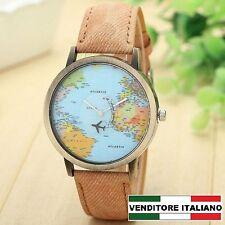 IDEA REGALO per Donna/UOMO RAGAZZA/O aereo mondo Watch map MINI WORLD marrone