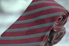 Giorgio Armani Men's Tie Merlot Herringbone Stripe Silk Luxury Silk Necktie