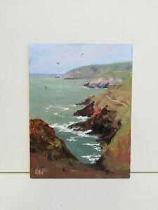 Ceibwr Pembrokeshire coast seascape Original Oil Painting cliff rocks Wales Art