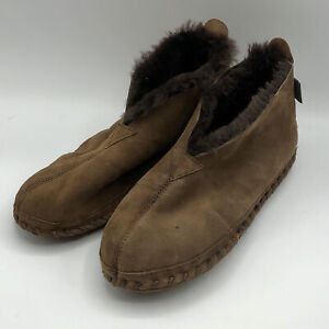 LL Bean Wicked Good Slippers Shearling Lined Brown Mens Size 11