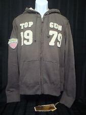 TOP GUN - Men's Zip-Up Military Patched Hoodie Jacket - Gray - Size XL