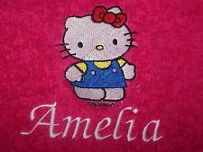 """PERSONALIZED EMBROIDERED HELLO KITTY SWIMMING/BATH TOWEL"" 100% COTTON PINI"