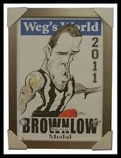 Dane Swan Collingwood 2011 Brownlow Medal Weg's World L/E Print Framed 500 ONLY