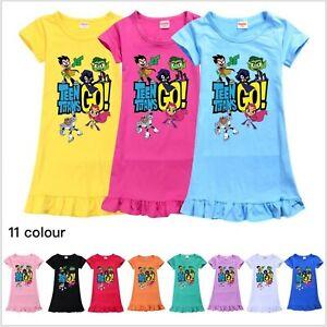 Kids Teen Titans Go Nightwear Pajamas Skirt Nightie Sleepwear Nightdress Pyjamas