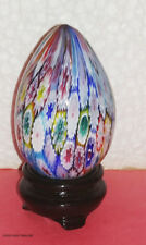 MILLEFIORI GLASS EGG 2.75 x 1.75 INCHES 4.7-oz FROM MURANO, ITALY + STAND 3.25""