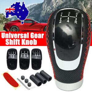 5 6 Speed Car Manual Gear Stick Shift Knob Shifter PU Leather + 3 Cap Universal