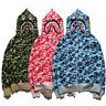 Bape A Bathing Ape Shark Head Lovers Camo Hoodie Sweatshirt Full-Zip Jacket Coat