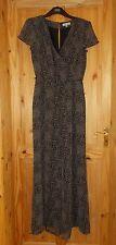 PER UNA M&S black taupe mink brown leopard print chiffon catsuit jumpsuit 10 38