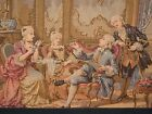 Antique Framed Continental Tapestry Embroidering a Palace Scene