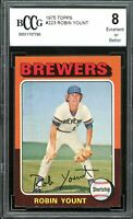 1975 Topps #223 Robin Yount Rookie Card BGS BCCG 8 Excellent+