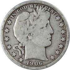 1906 D 50c Barber Silver Half Dollar US Coin VG Very Good