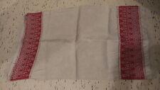 Antique LINEN  & COTTON DAMASK RUNNER, RED FLORAL ENDS, Cut-Thread-Work, Crochet